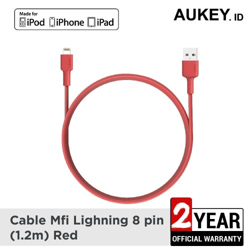 Foto Produk Aukey Cable MFi USB-A to Lightning 1,2m Red- 500350 dari AUKEY