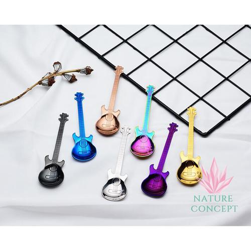 Foto Produk Sendok Unik Gitar Listrik Sendok Anak Teh Kopi Gift SILVER - Silver dari Nature Concept
