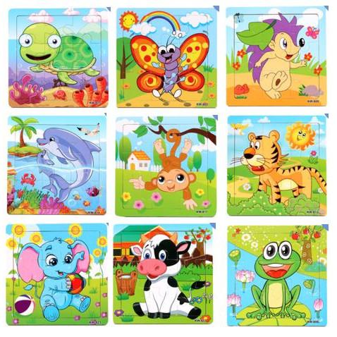 Foto Produk Puzzle Kayu / Jigsaw Puzzle 9 Pcs Melatih Koordinasi Anak - KURA2 dari TweedyToys