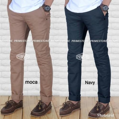 Foto Produk celan panjang chino pria celana katun street kantor warnahitam reguler dari majerstore