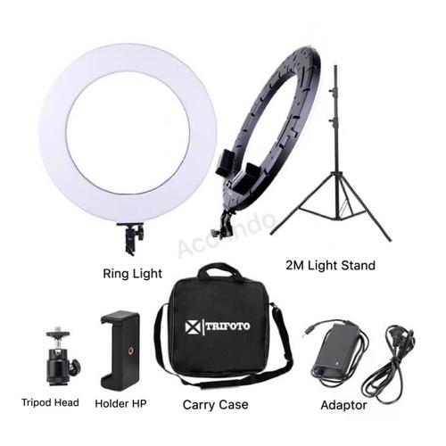 Foto Produk Ringlight LED Trifoto 18 Bi-Color Ring Light 2 Warna Ringlite Komplit dari Acc Indo