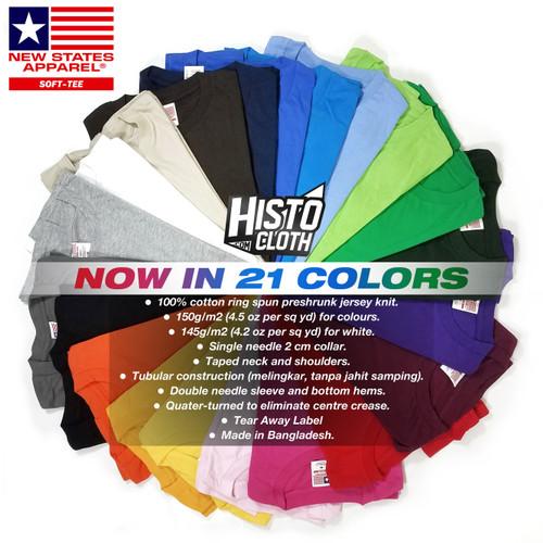 Foto Produk Kaos Polos New States Apparel (NSA) Soft Tee 3600 Import Original SBY dari Histocloth
