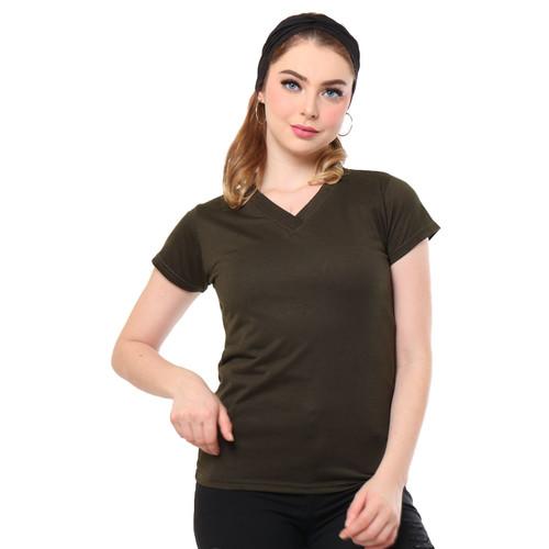 Foto Produk MOSIRU Kaos Wanita Baju Oblong Termurah Tumblr Tee V-Neck Pendek - Army dari Mosiru Official Store