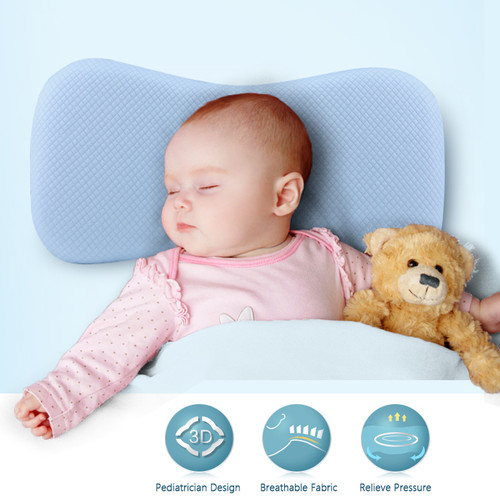 Foto Produk Bantal Kepala Bayi (Wide) Anti Peang Premium Baby Memory Foam Quality - Biru dari Gentleman Car