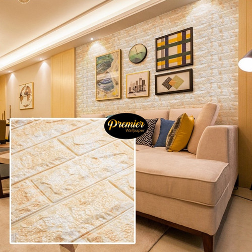 Foto Produk Wallpaper 3D Luxury Foam White Orange Brick | 70CM x 77CM dari Premier Wallpaper