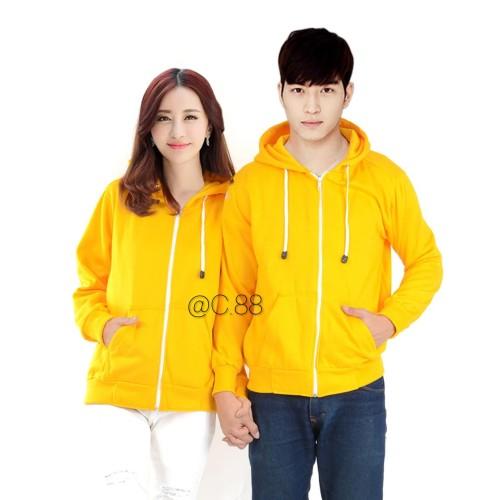Foto Produk jaket sweater polos royal hoodie zipper kuning - Kuning, M dari Centralindo88