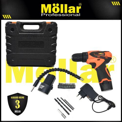 Foto Produk XENON CDD505 Mesin Bor Cas Charger 12V Cordless Drill Set Mata Bor dari Mollar Official