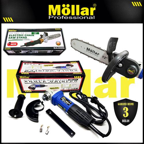 Foto Produk [PAKET] MOLLAR AG9430 Mesin Gerinda Tangan & Chain Saw Stand CSS058 dari Mollar Official