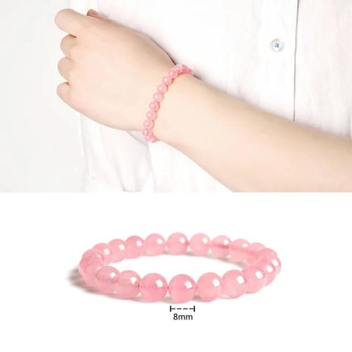 Foto Produk Gelang natural batu rose quartz pink 8mm ELASTIS dari Bungas Gemstone