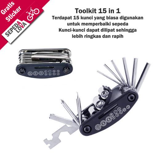 Foto Produk Toolkit Toolset Sepeda 15 in 1 Kunci L Obeng Wrench dari SepedaLova
