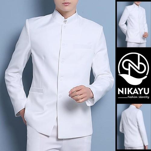 Foto Produk Blazer KIYOSHI WHITE - Jas Pria SLIMFIT SHOP Baju Pakaian koko putih - Putih, S dari SLIMFIT SHOP