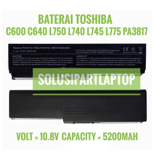 Foto Produk BATERAI TOSHIBA C600 C640 L750 L740 L745 L775 3817 PA3817 BLACK dari SolusiPartLaptop