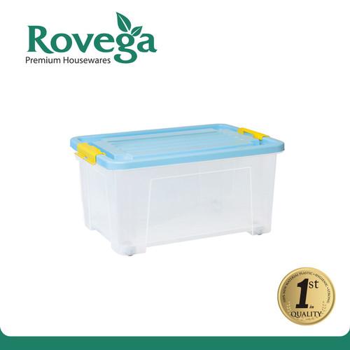 Foto Produk Rovega Kotak Kontainer Plastik Premium dengan 4 Roda 35 Liter BIRU dari ROVEGA OFFICIAL STORE