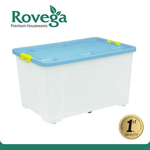 Foto Produk Rovega Kotak Kontainer Plastik Premium dengan 4 Roda 60 Liter BIRU dari ROVEGA OFFICIAL STORE