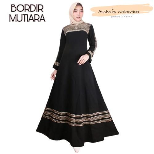 Foto Produk gamis busana abaya bordir original Mutiara - Hitam, S dari GrosirAbaya