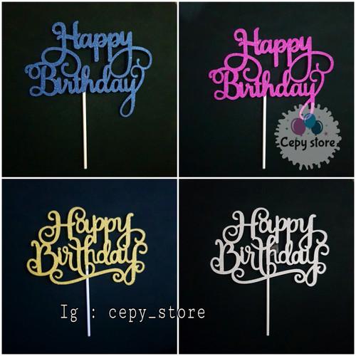 Foto Produk Cake Topper Happy Birthday / Tusukan Kue HBD Gliter Karton Sambung - Biru dari Cepy Store