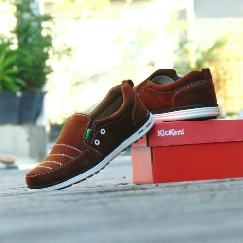 Foto Produk Sepatu Kerja Pria Kickers Sidney Corduray - Coklat Tua - Slip On Slop dari RINDU_ORDER