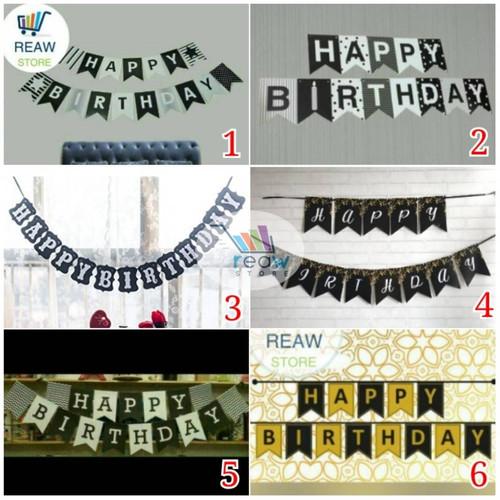 Foto Produk Banner Happy Birthday / Banner Ulang Tahun Hitam Putih dari Reaw Store