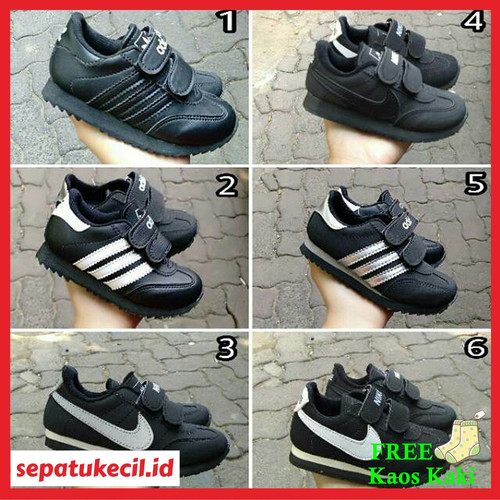 Foto Produk Sepatu Anak Sekolah Adidas Nike Hitam Perekat Size 25 37 - 25 dari sepatukecil.id