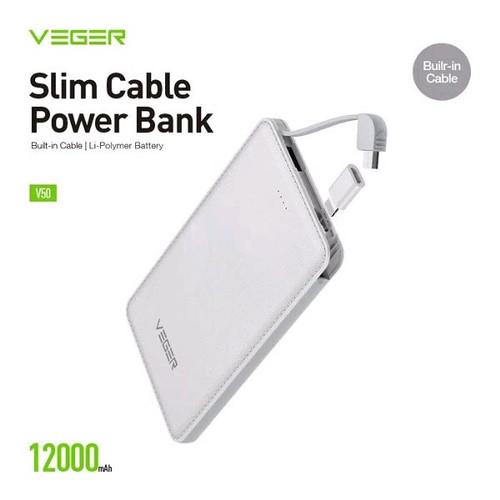 Foto Produk Veger V50 Power Bank Slim 12000mAh Original Garansi 1 Tahun dari Rated Shop