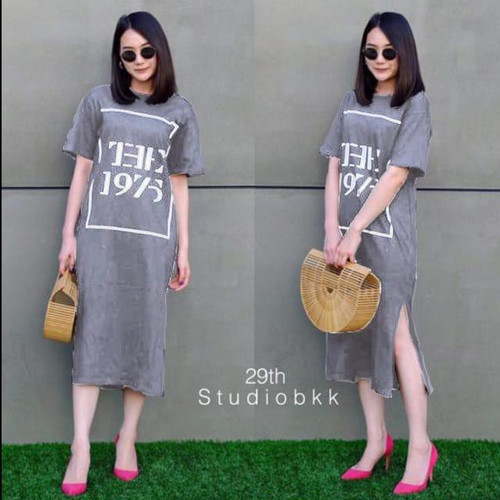 Foto Produk damai fashion jakarta - baju DRESS wanita MILKA 1975 2 WARNA - konveks - Abu-abu dari LV.co Tanah abang