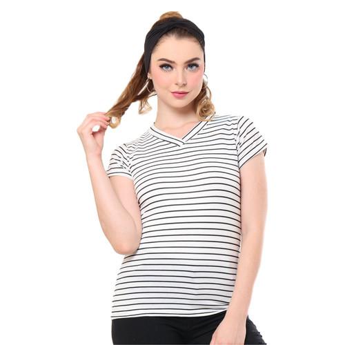 Foto Produk MOSIRU Kaos Wanita Baju Oblong Termurah Tumblr Tee Vneck Salur Middle - Putih dari Mosiru Official Store