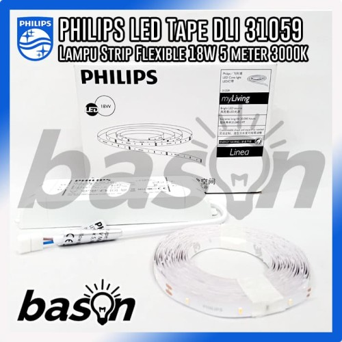 Foto Produk PHILIPS DLI 31059 LED tape flexible 3000K Warm White 18W 5m - Kuning dari bason