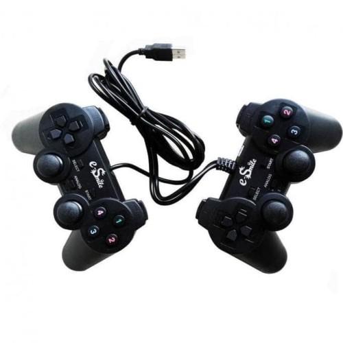 Foto Produk Gamepad Double Hitam E-Smile PC Dual Shock Controller USB dari Renita Sanjaya