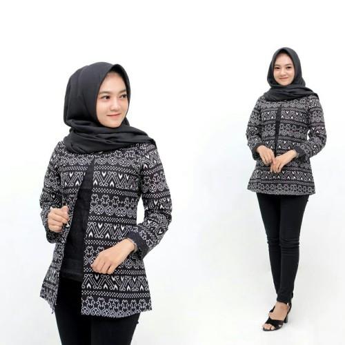 Foto Produk Baju Atasan Wanita Blazer Batik Baju Kantor Baju Kerja Kekinian - gambar 1, M dari ARM Shop Batang
