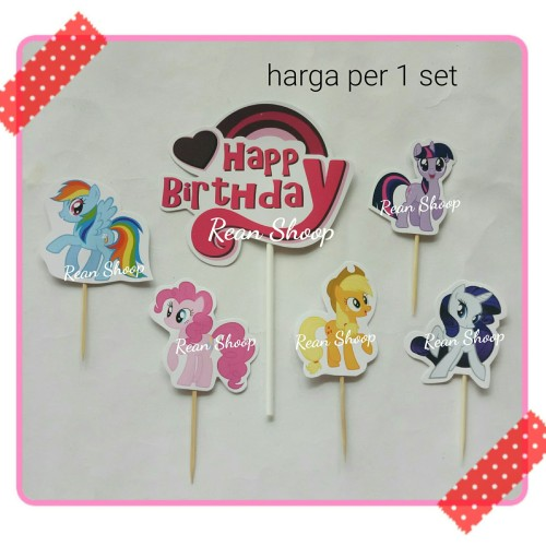 Foto Produk topper toper hiasan kue birthday hbd karakter kuda poni my little pony dari reanolshoop