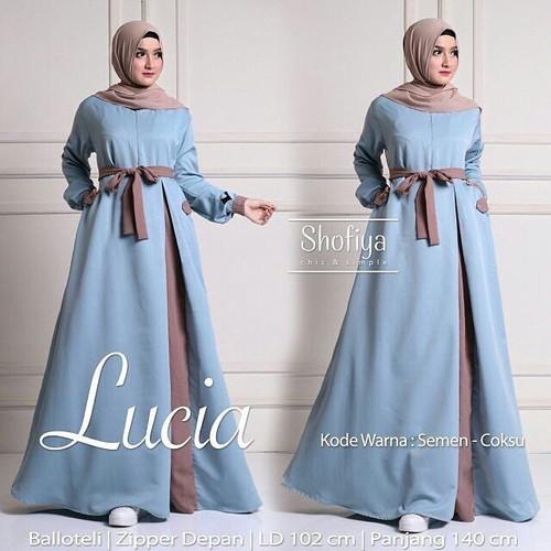 Foto Produk Baju Pakaian Wanita Hijabers Lucia Dress Semen Coksu Murah dari HAFIZAH HIJAB