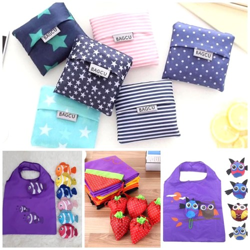 Foto Produk Bagcu Shopping Bag / Kantong Belanja Lipat Bagcu Motif - BIG STAR - NAVY dari Rising.collection