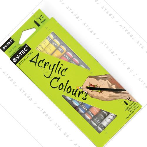 Foto Produk Cat Acrylic Vtec 6Ml 12 warna Cat Acrilic Vtec 6ml Cat Akrilik Vtec dari Pusat Grosir ATK 88