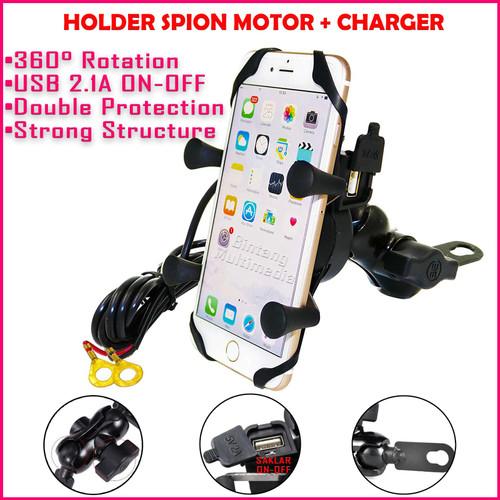 Foto Produk X-Grip Holder Spion Motor + Charger HP USB Bracket Handphone dg Saklar dari BINTANG MULTIMEDIA