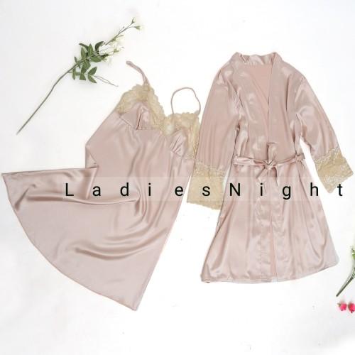 Foto Produk Dark Cream Valeria Set Lingerie -Inner Dress, Robe +Gstring - Beige dari Ladies Night