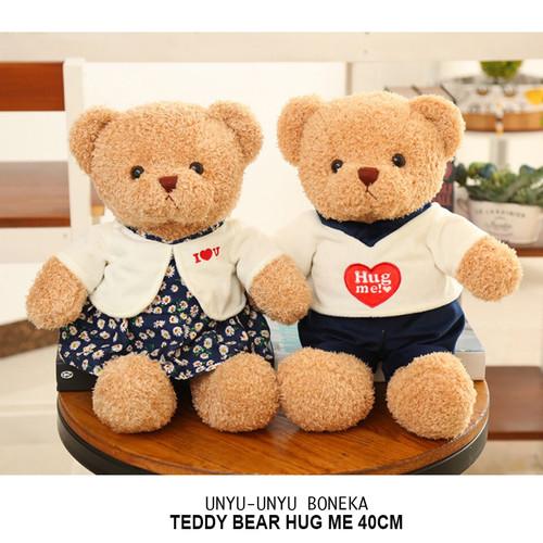 Foto Produk boneka teddy bear HUG Me 40cm harga satuan bear import couple wedding dari unyu-unyu boneka