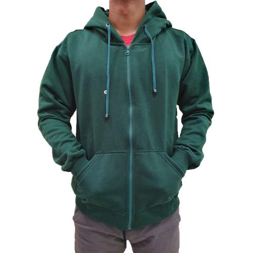 Foto Produk Jaket Sweater Polos Hoodie Zipper/Resleting Hijau Botol M L XL - ZIPPER HIJAUBTL, M dari FR_OLSHOP SPORT