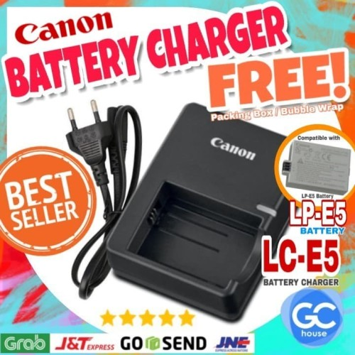 Foto Produk Charger Canon LC-E5 LC-E5E LC-E5C for LP-E5 DSLR Eos 1000D 500D 450D dari GC house