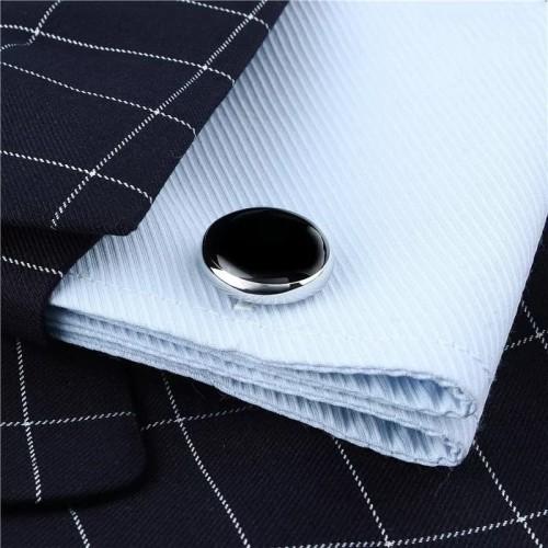 Foto Produk Cufflinks Manset Kancing Kemeja French Cuff CIRCLE BLACK SOLID dari House of Cuff