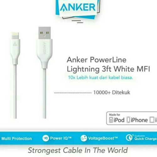 Foto Produk Kabel Data Anker PowerLine iPhone Usb Lightning 3ft / 0.9m High Speed - Putih dari Jess grosir accessories
