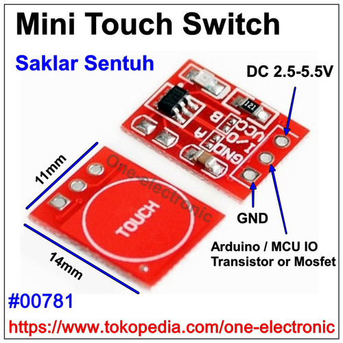 Foto Produk Mini Switch Touch Sensor Saklar Sentuh Capacitive TTP223 Arduino MCU dari One-electronic