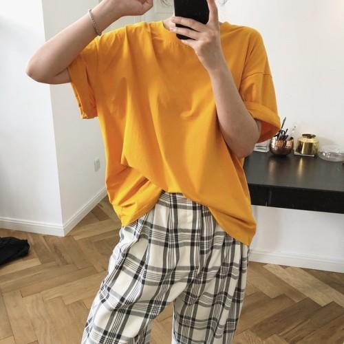Foto Produk Aute Jixin South Korea Chic Oranges Soda Solid Color Pullover dari jual celana pria terbaru