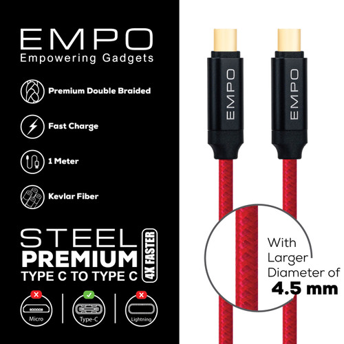 Foto Produk Kabel Charger EMPO STEEL Type C to Type C Braided Nylon Cable Red dari EMPO