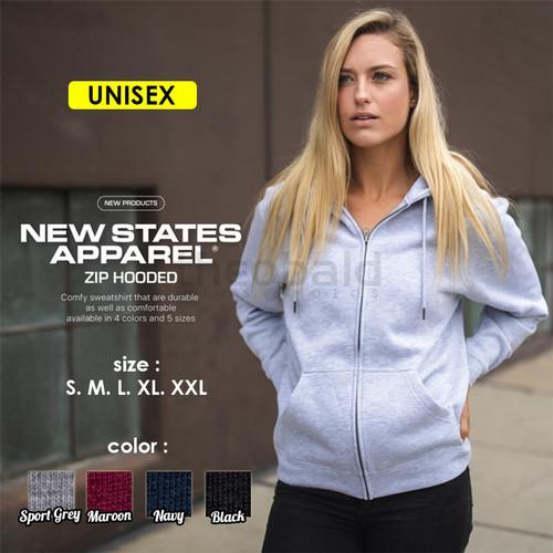 Foto Produk Zipper Hoodie Polos 9600 New States Apparel ( NSA ) Import Original - Black, S dari Kaos Polos Theobald