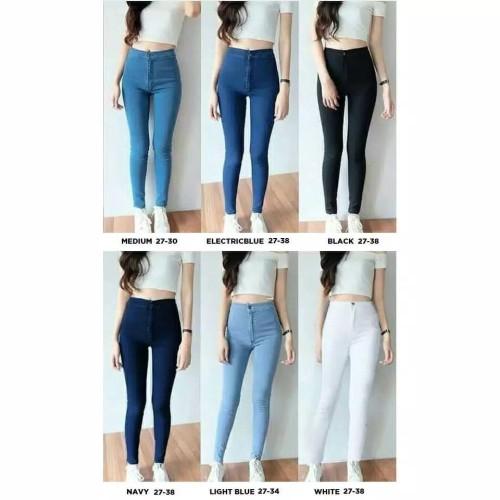 Foto Produk Celana Jeans Highwaist Wanita Celana Highwaist Jeans Cewek - Black, Size 27 dari rumahjeans
