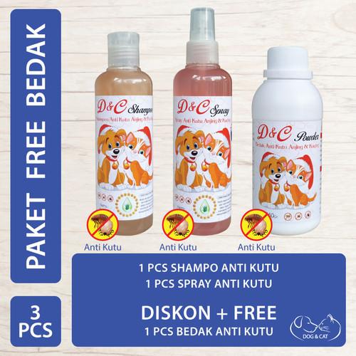 Foto Produk D&C Shampo & Spray Anti Kutu Free Bedak Anti Kutu Anjing & Kucing dari Produkkita