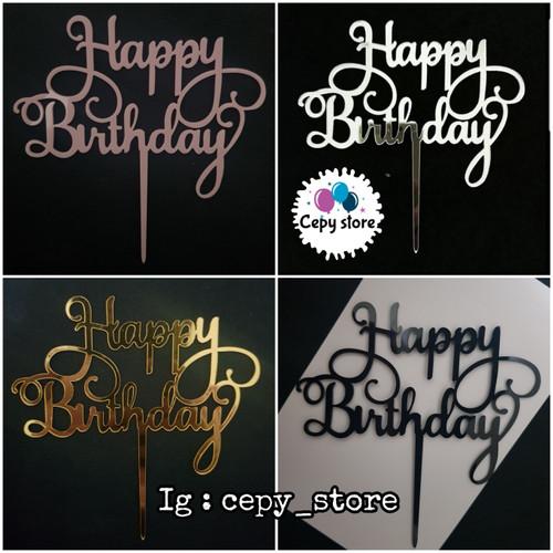 Foto Produk Cake Topper Happy Birthday / Tusukan Kue Happy Birthday Acrilyc dari Cepy Store