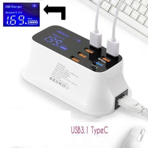 Foto Produk 8 Port charger USB Fast Charging Smart Led Display with 1 Type C Port dari TerusJaya