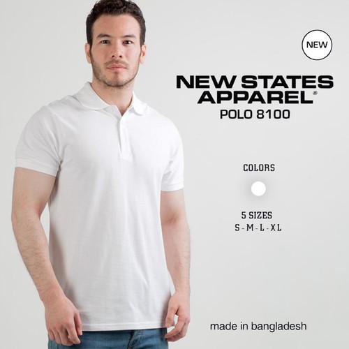 Foto Produk Kaos Polos New States Premium Cotton Polo Shirt 8100 WHITE,SIZE S-XL dari Kaos Polos Theobald