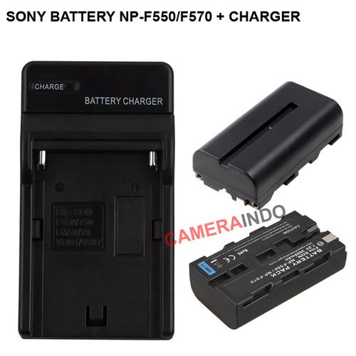 Foto Produk Sony Battery NP-F570 Plus Charger baterai - 1 Battery dari cameraindo